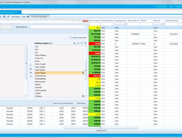 Bedingte farbliche Formatierung: Neue WinSped-Funktion verbessert Datenübersicht