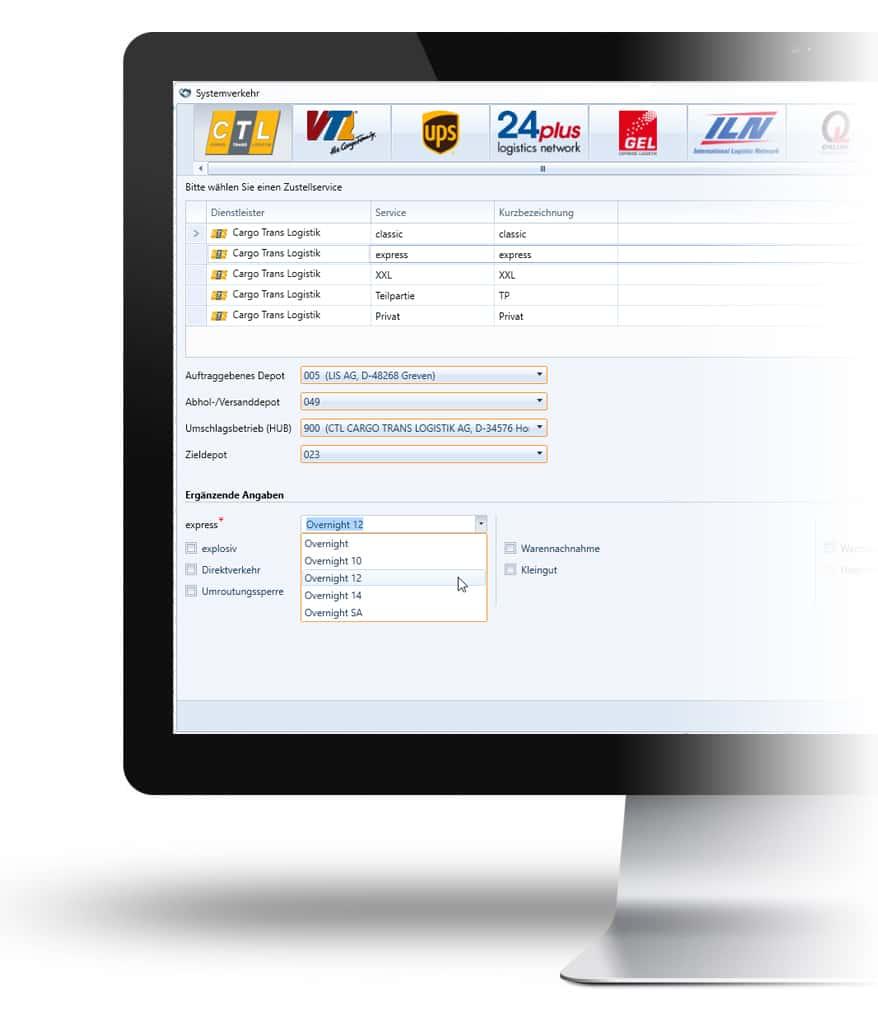 Écran avec le logiciel Système logistique dans WinSped