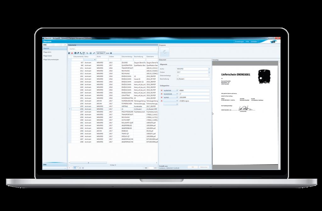 Computer mit dem Dokumentenmanagementsystem von WinSped