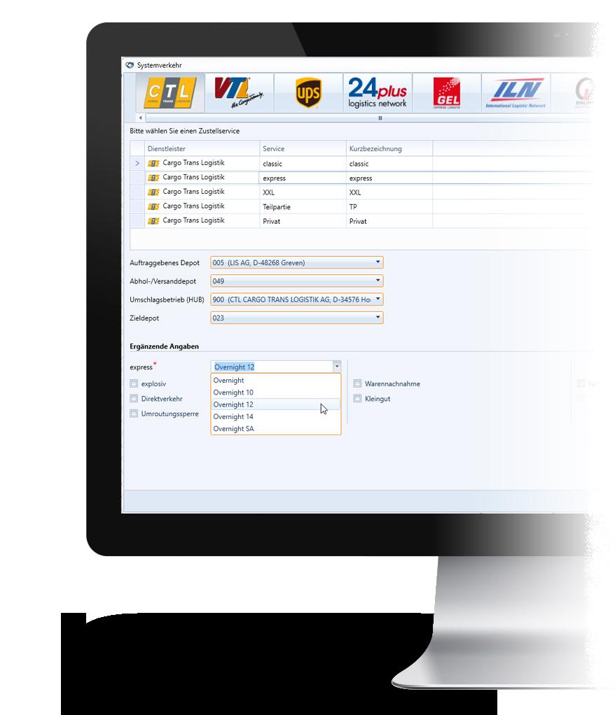 Bildschirm mit der Systemverkehrs-Software in WinSped